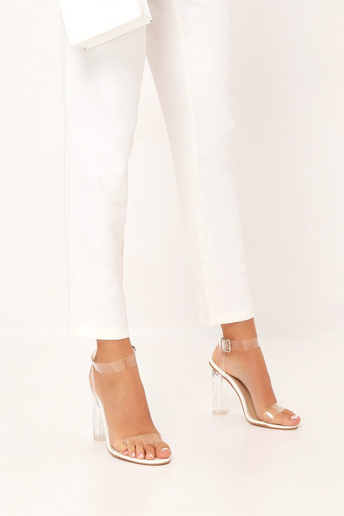 White Clear Strap And Perspex Block Heel Sandals