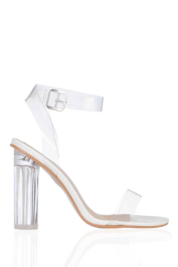 White Clear Strap And Perspex Block Heel Sandals view 4