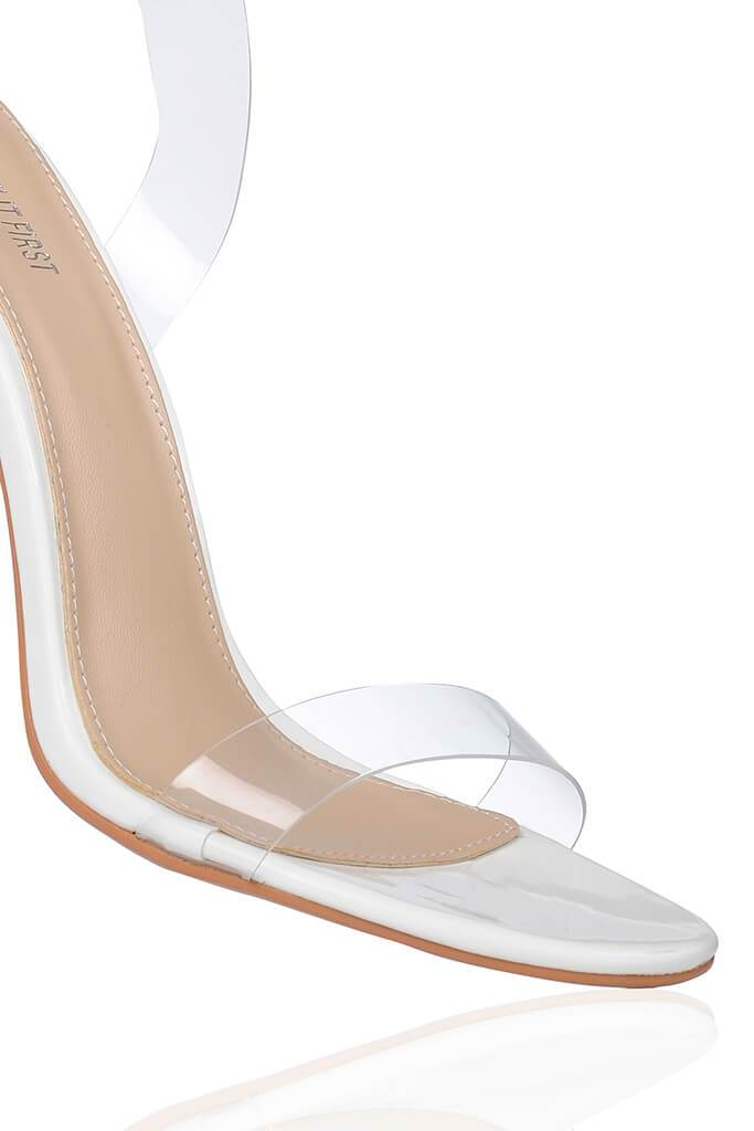 White Clear Strap And Perspex Block Heel Sandals view 5