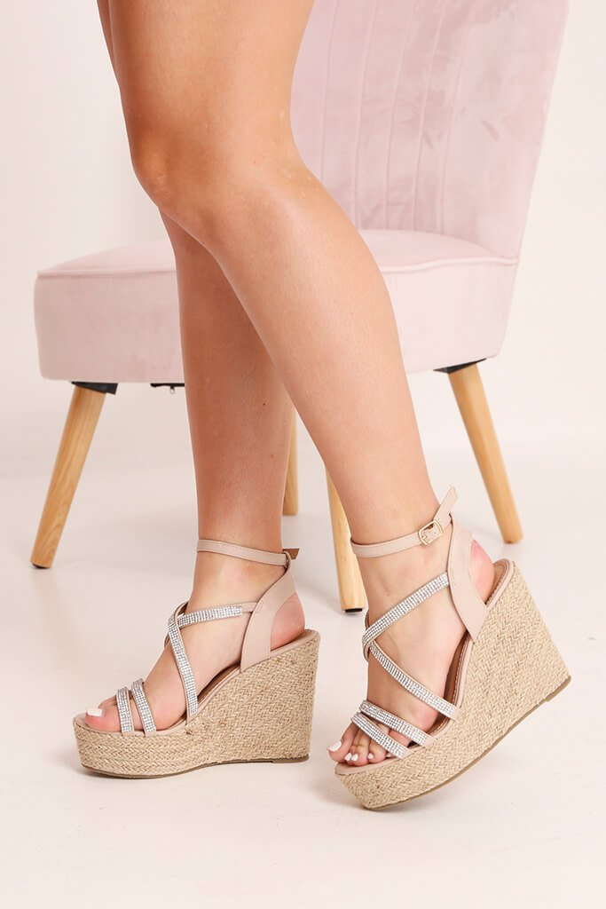 Nude Diamante Detail Wedges view 2