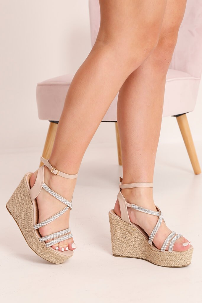 Nude Diamante Detail Wedges
