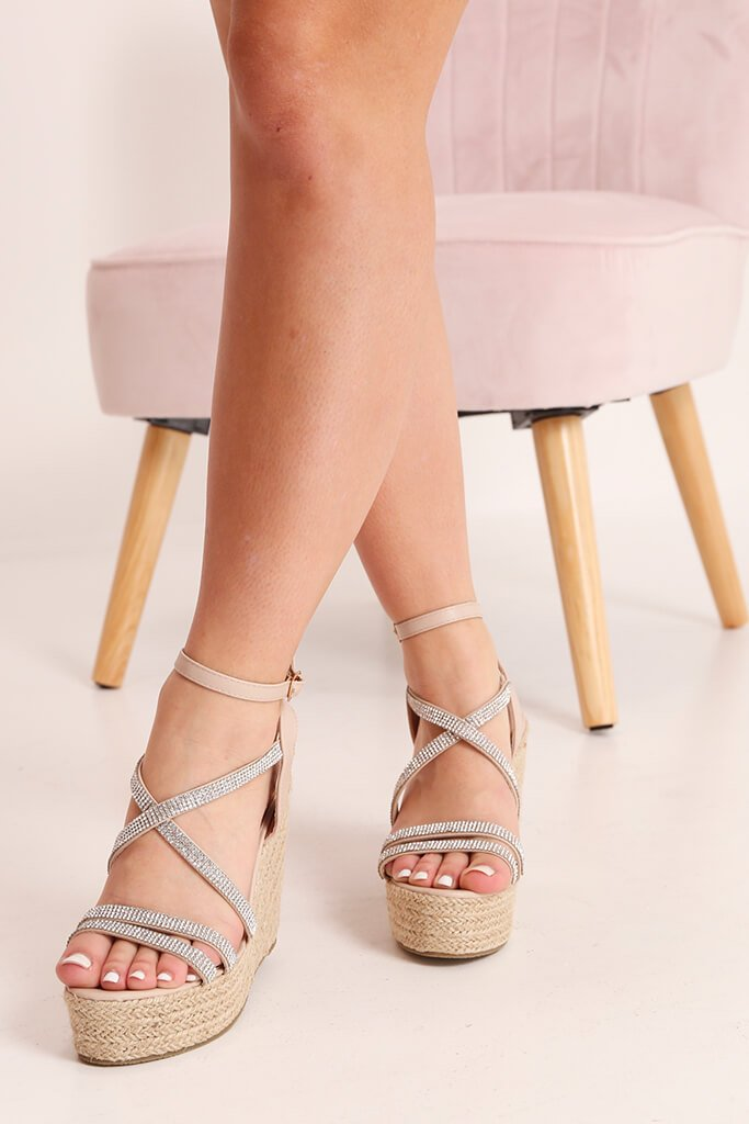 Nude Diamante Detail Wedges view 3
