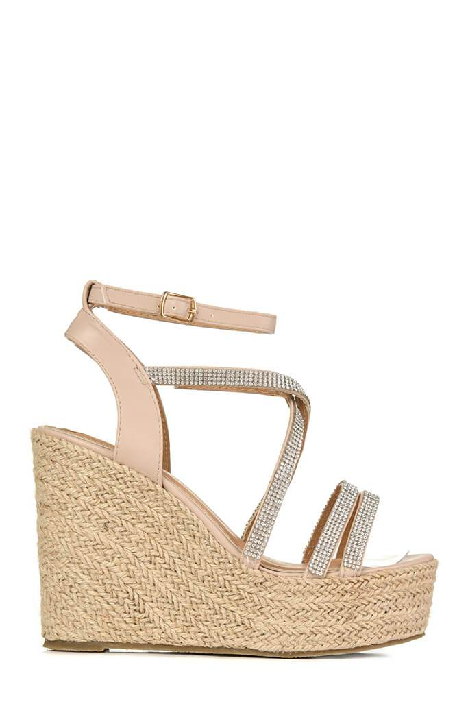 Nude Diamante Detail Wedges view 4