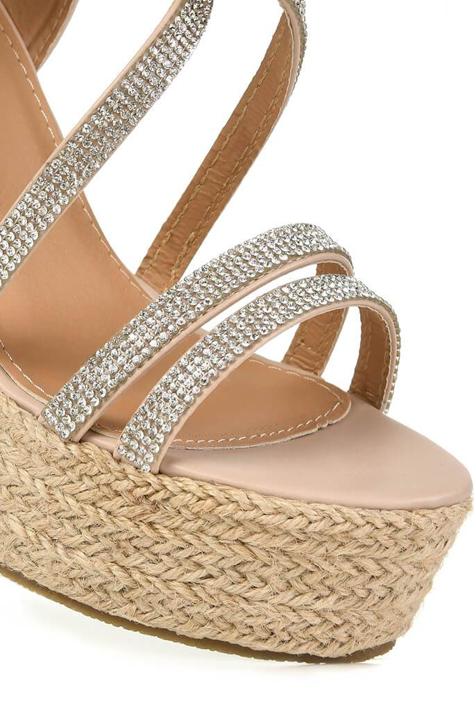 Nude Diamante Detail Wedges view 5