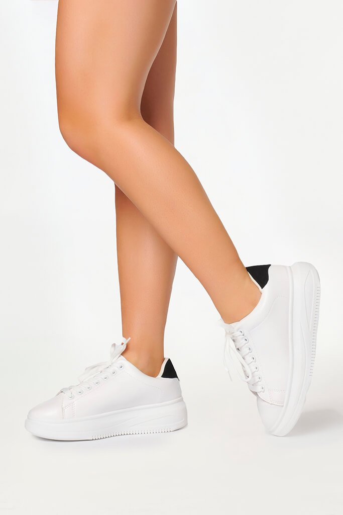 White Basic Platform Trainers With Black Heel Detail view 2