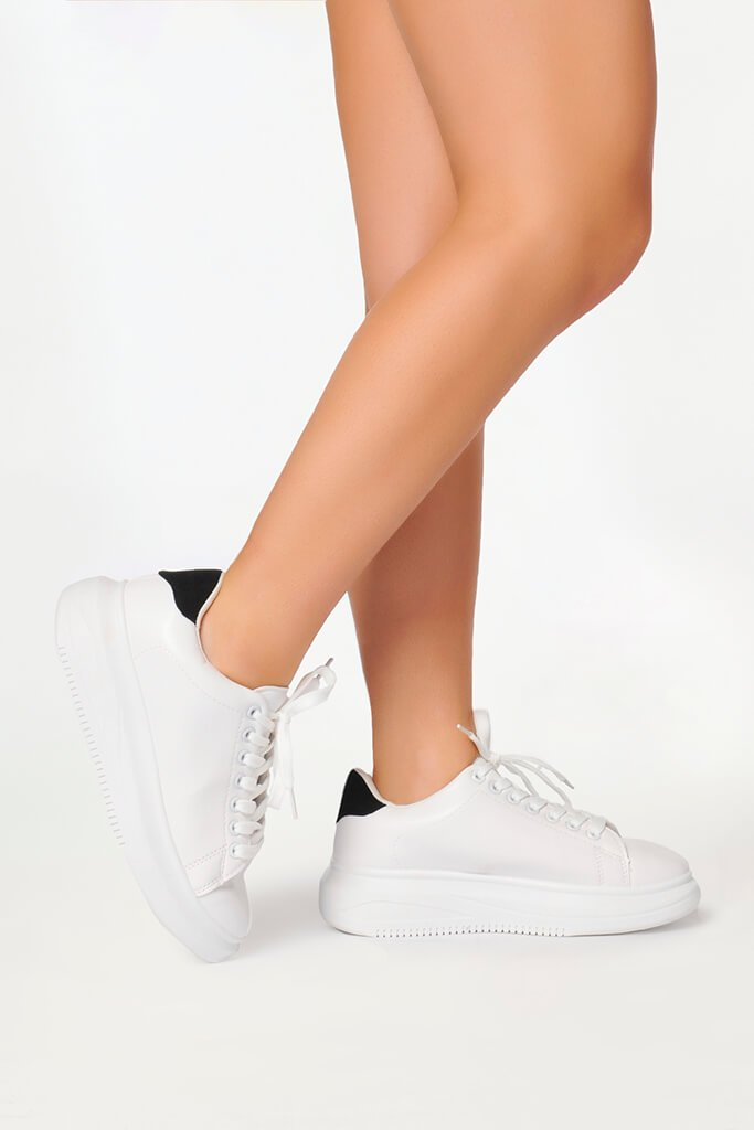 White Basic Platform Trainers With Black Heel Detail view 3