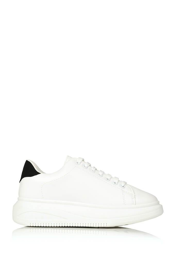 White Basic Platform Trainers With Black Heel Detail view 4