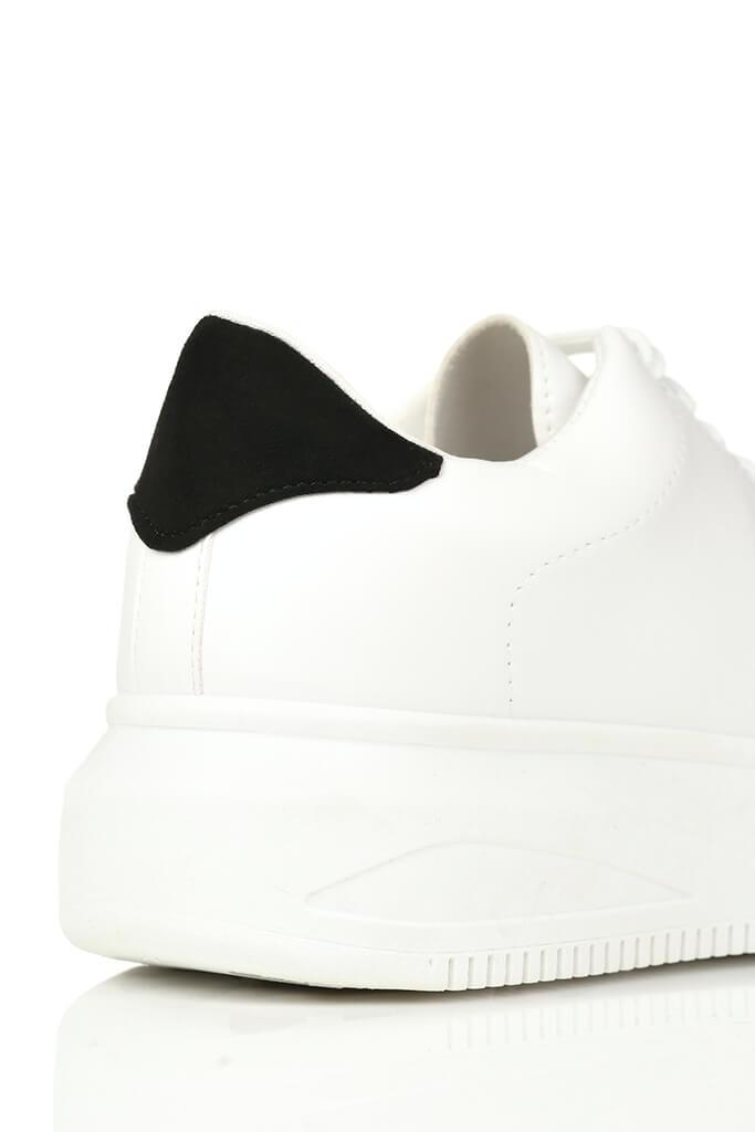 White Basic Platform Trainers With Black Heel Detail view 5