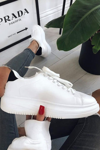 White Basic Platform Trainers With Black Heel Detail