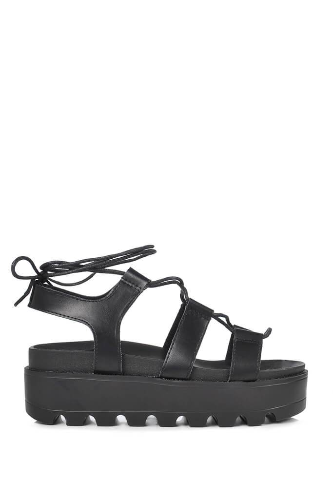 Black Faux Suede Flatform Gladiator Sandals view 3