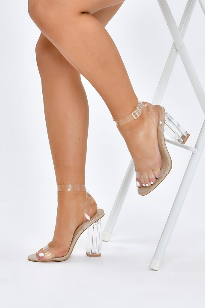 Nude Clear Square Block Strappy Heels view 2