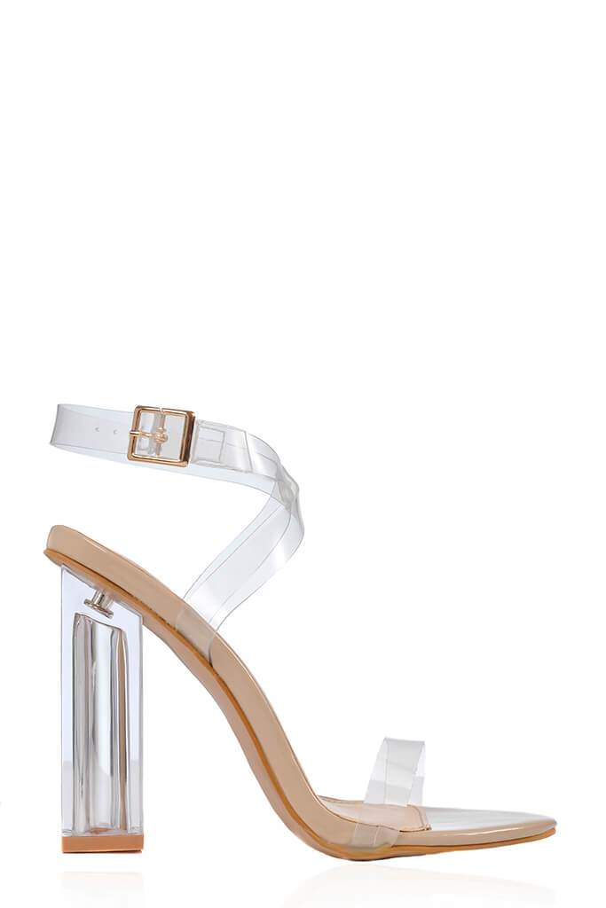 Nude Clear Square Block Strappy Heels view 3