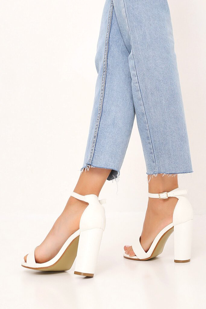 White Faux Leather Block Heel Sandals view 3