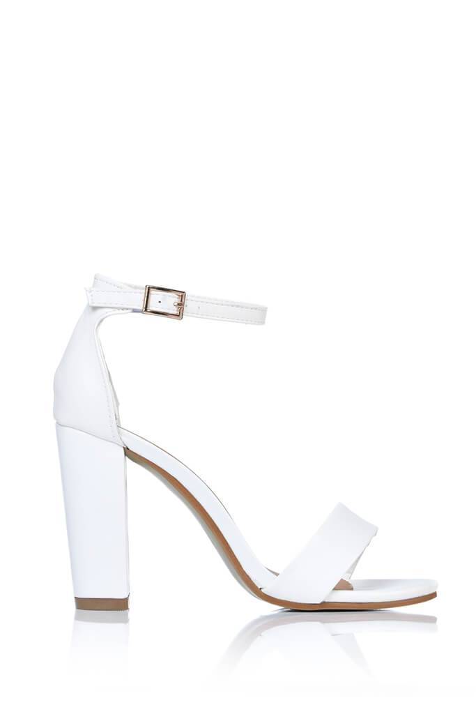 White Faux Leather Block Heel Sandals view 4