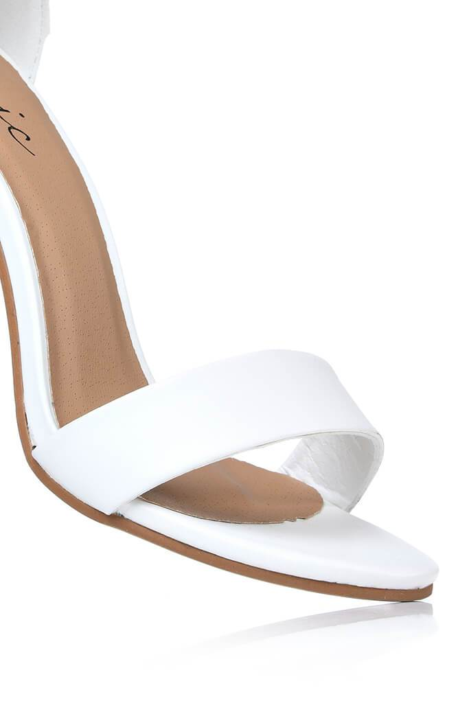 White Faux Leather Block Heel Sandals view 5