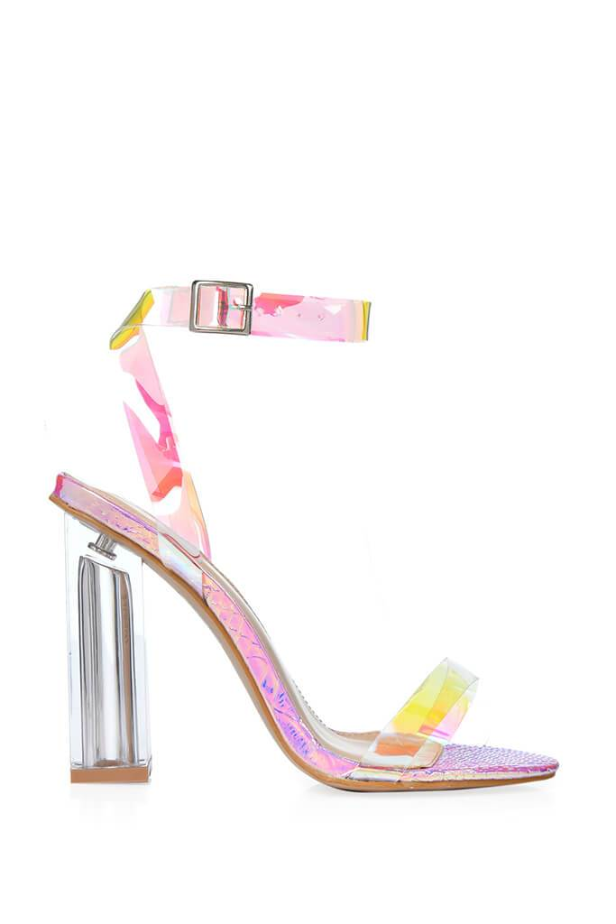 Multi Clear Strap And Perspex Block Heel Sandals view 3
