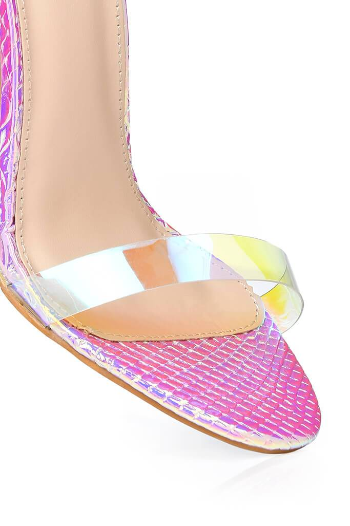 Multi Clear Strap And Perspex Block Heel Sandals view 4