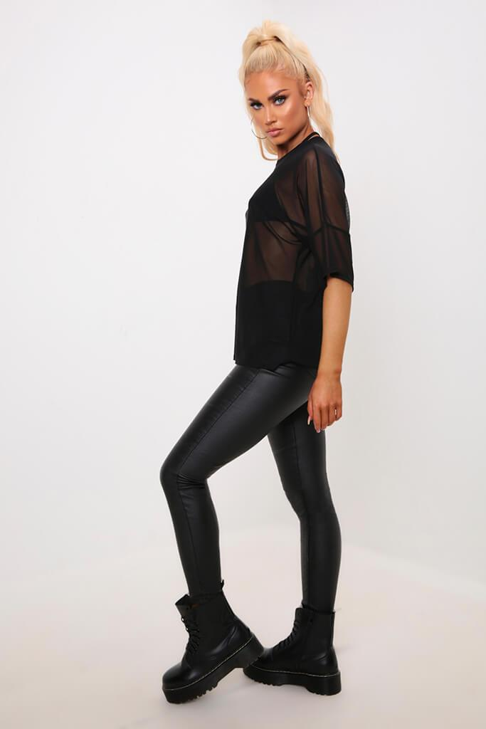 Black Oversized Mesh T-Shirt view 3