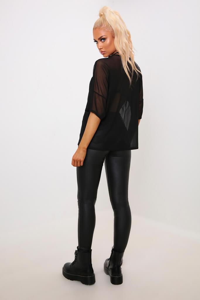 Black Oversized Mesh T-Shirt view 5