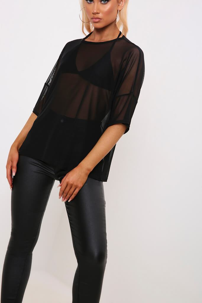 Black Oversized Mesh T-Shirt view 4