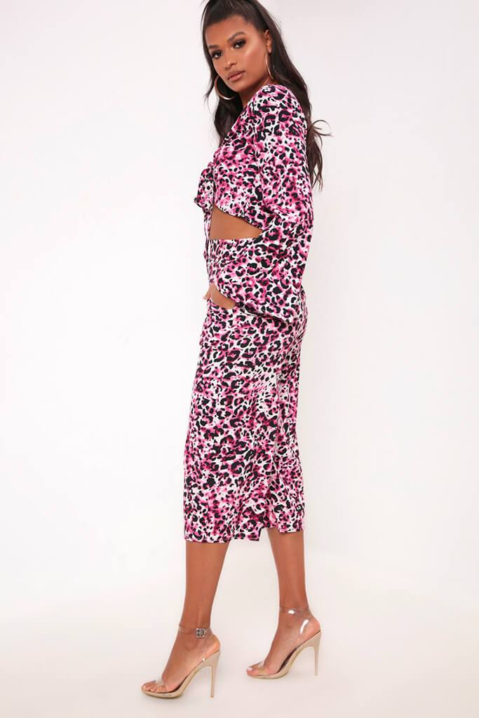 Leopard Print Crop Top & Culottes Co-Ord Set view 3