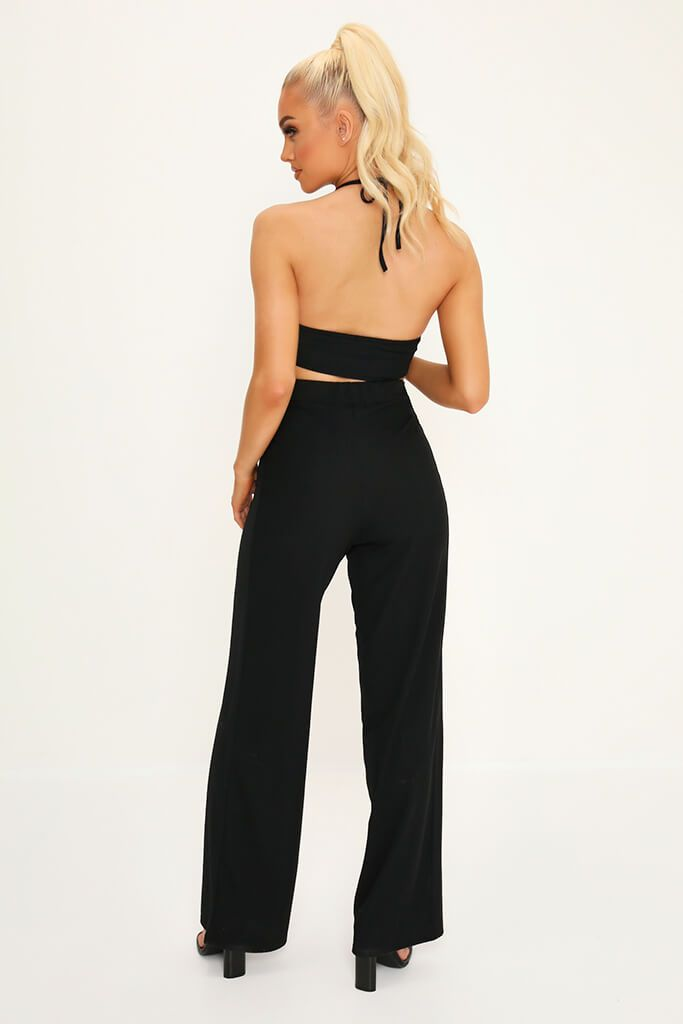 Black Halterneck Crop Top And Wide Leg Trouser Co-Ord Set view 5