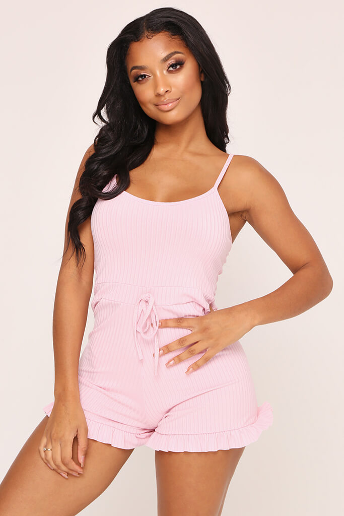 Blush Pink Frill Short Playsuit