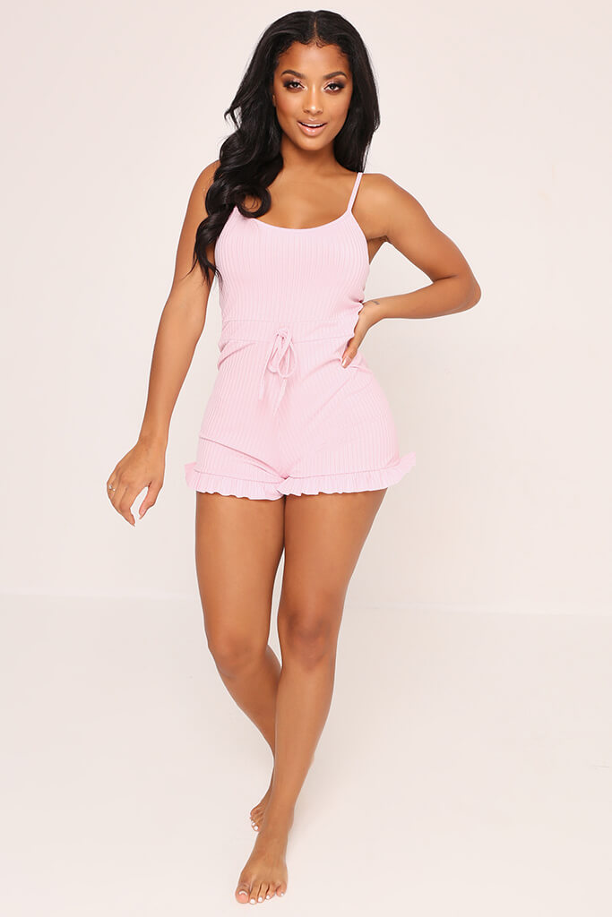 Blush Pink Frill Short Playsuit view 2