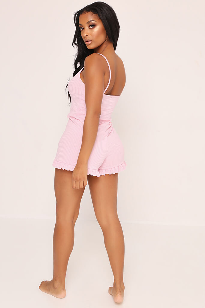 Blush Pink Frill Short Playsuit view 5
