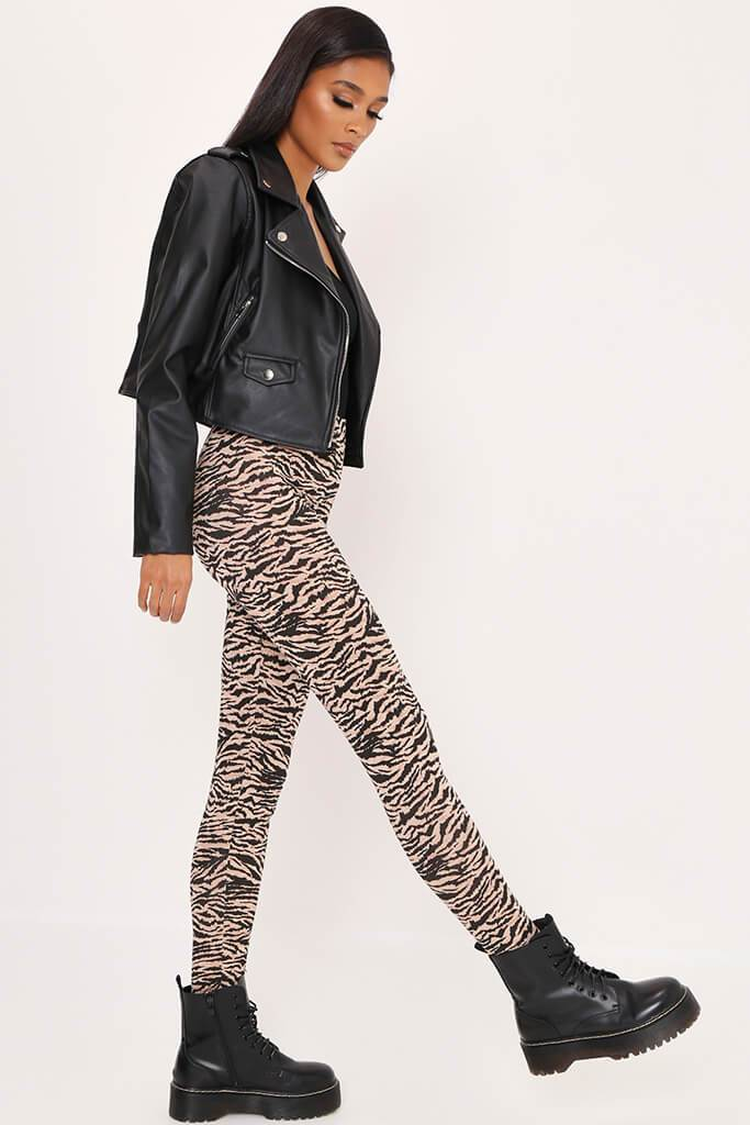 Black/Neutral Zebra Print High Waist Leggings