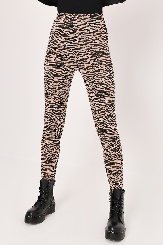 Black/Neutral Zebra Print High Waist Leggings view 2