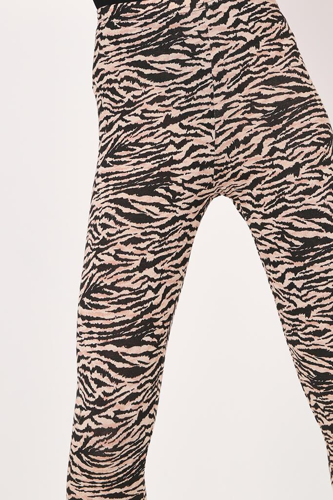 Black/Neutral Zebra Print High Waist Leggings view 4