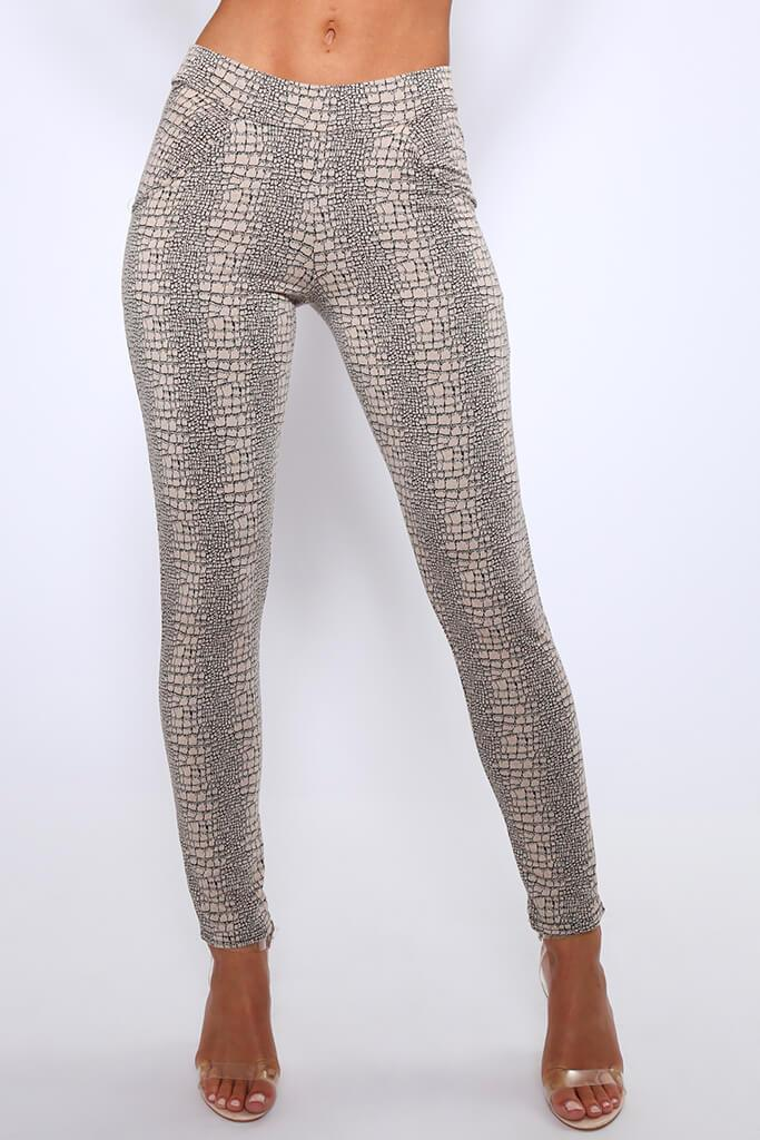 Beige Croc Print High Waisted Pocket Trousers view 2