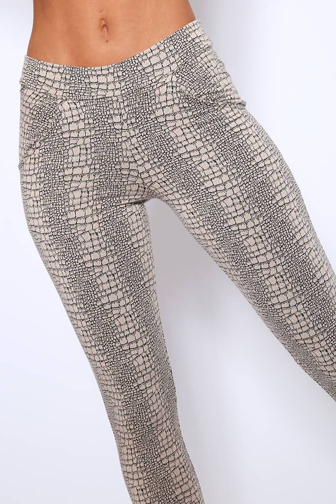 Beige Croc Print High Waisted Pocket Trousers view 4