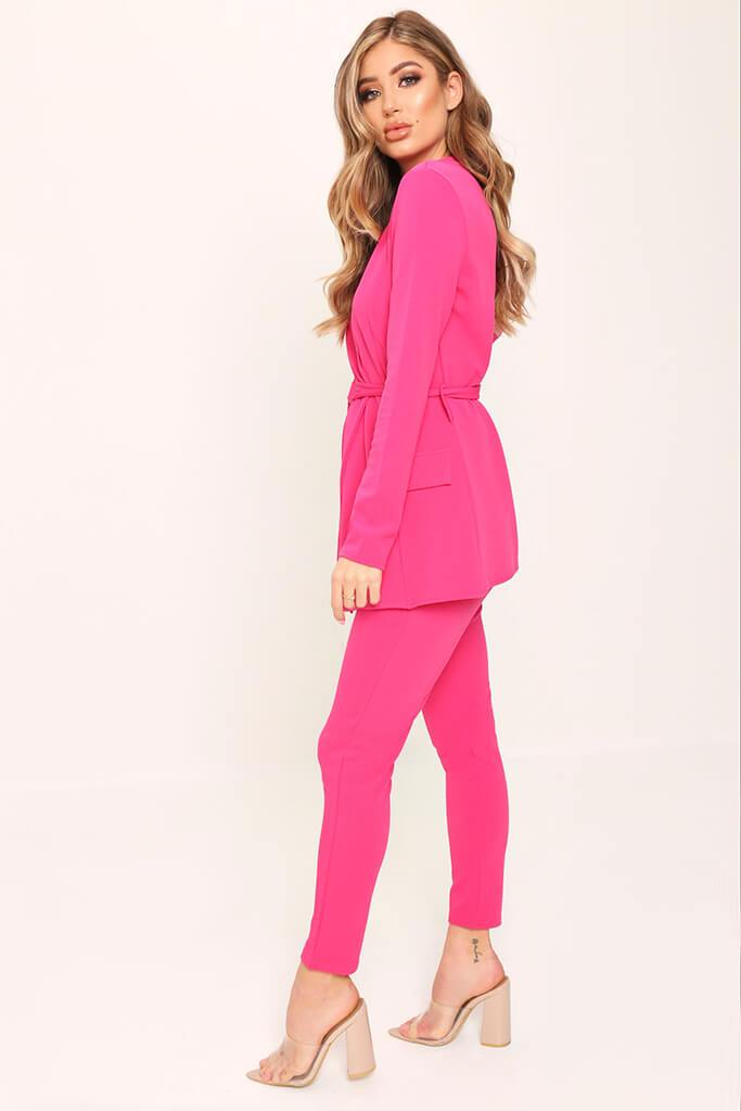 Pink Crepe High Waist Cigarette Trousers view 3