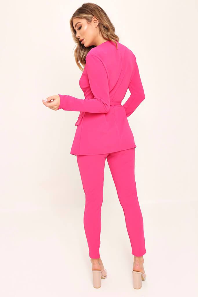 Pink Crepe High Waist Cigarette Trousers view 5