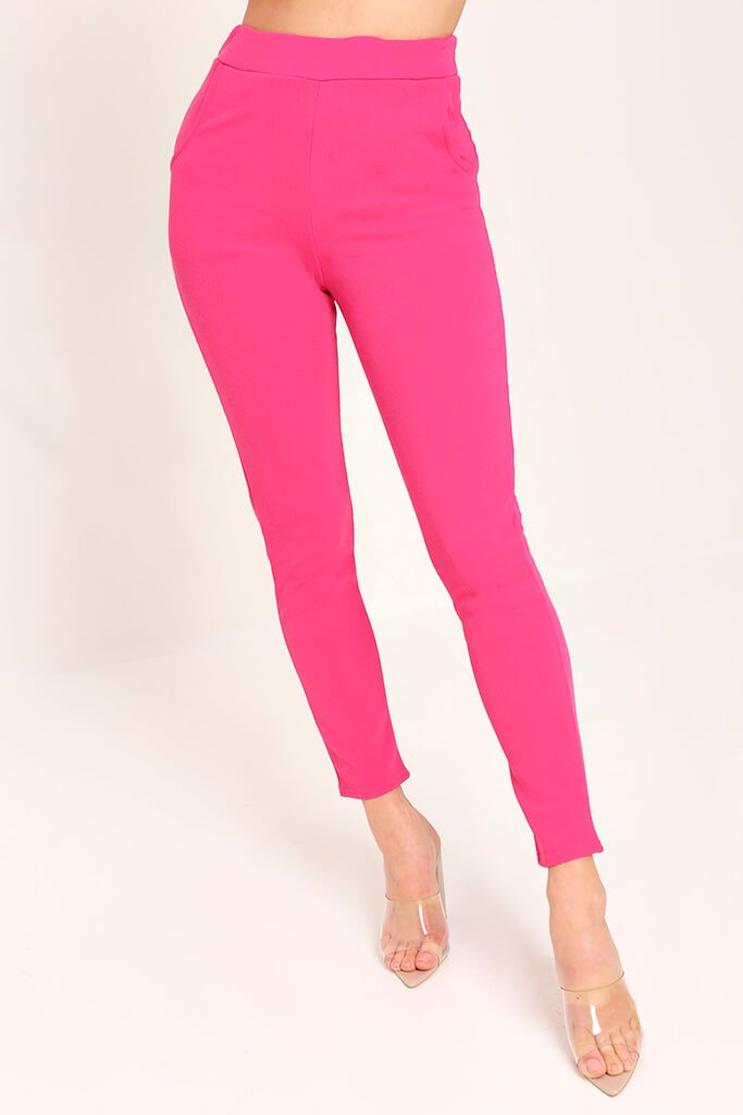 Pink Crepe High Waist Cigarette Trousers view 2