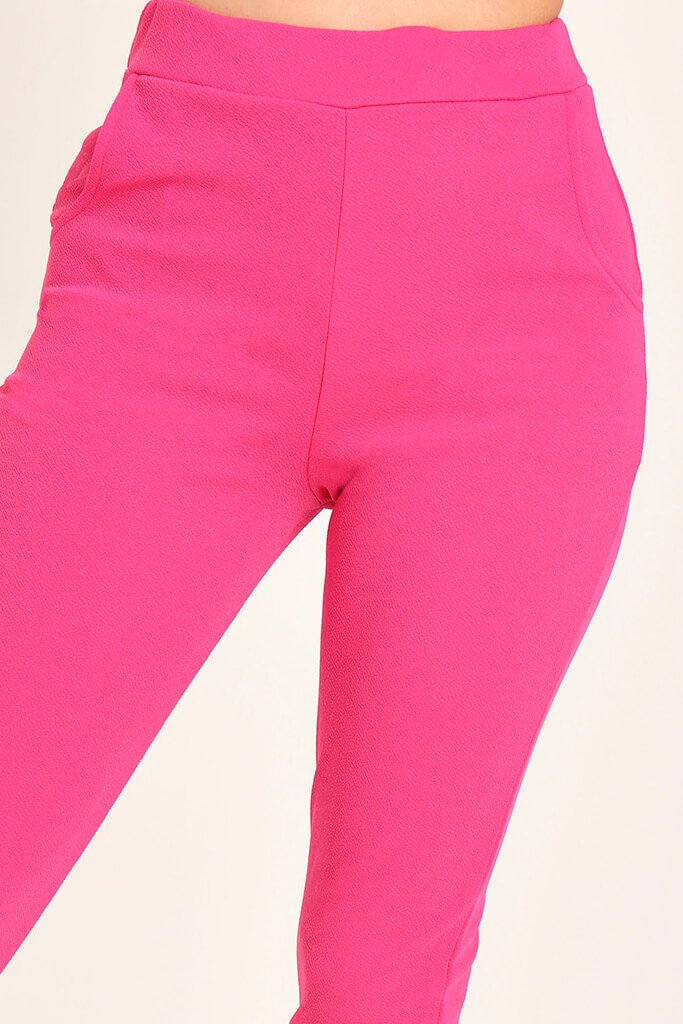 Pink Crepe High Waist Cigarette Trousers view 4