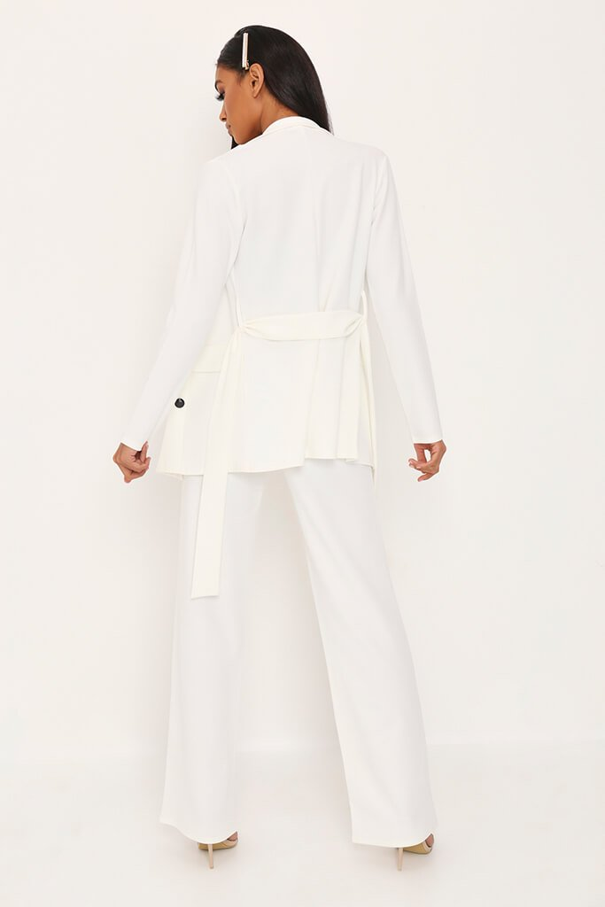 White Pleat Detail High Waist Trousers view 4