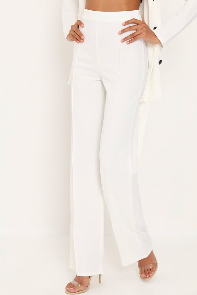 White Pleat Detail High Waist Trousers view 2
