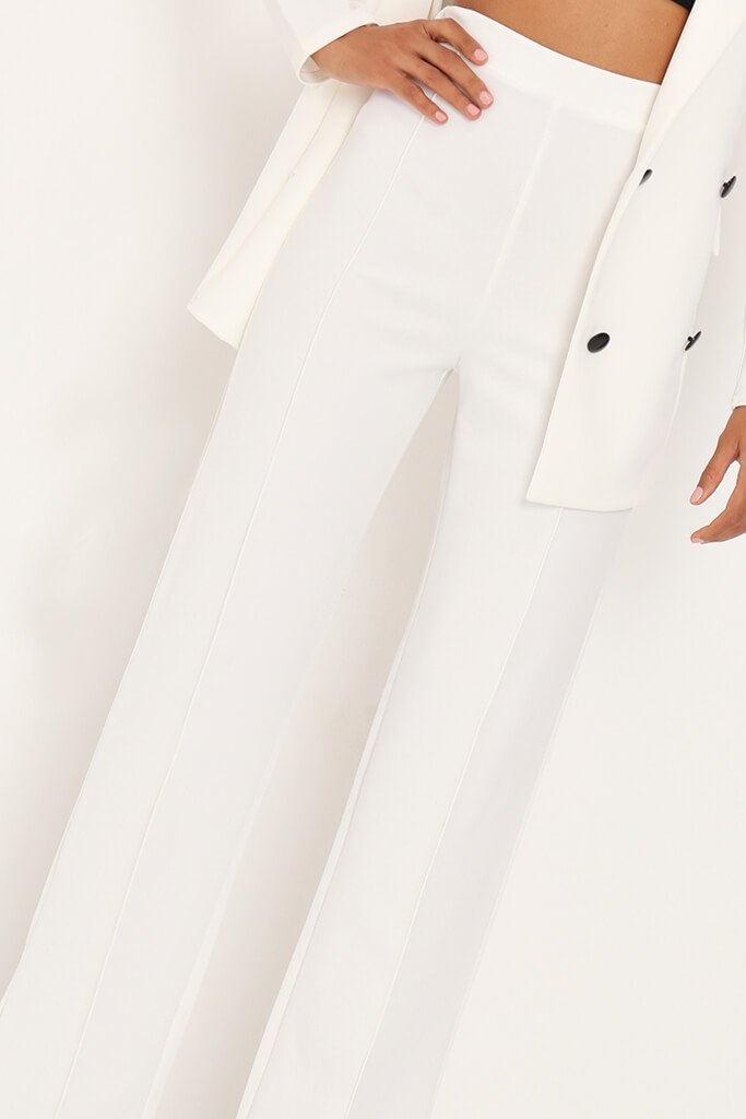 White Pleat Detail High Waist Trousers view 3