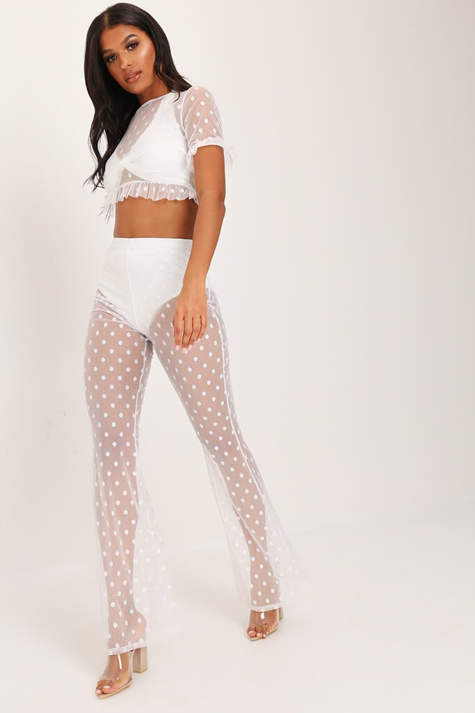 White Mesh Polka Dot Wide Leg Trousers view 2