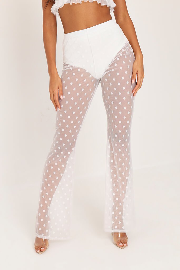 White Mesh Polka Dot Wide Leg Trousers view 3