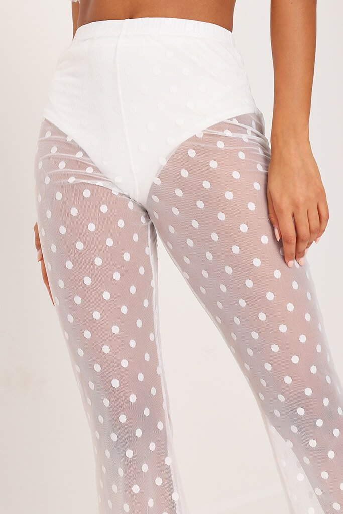 White Mesh Polka Dot Wide Leg Trousers view 4