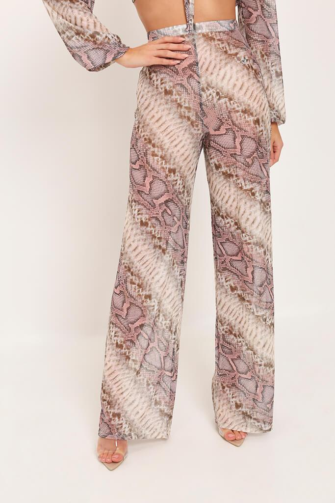 Beige Snake Print Mesh Wide Leg Trousers view 3