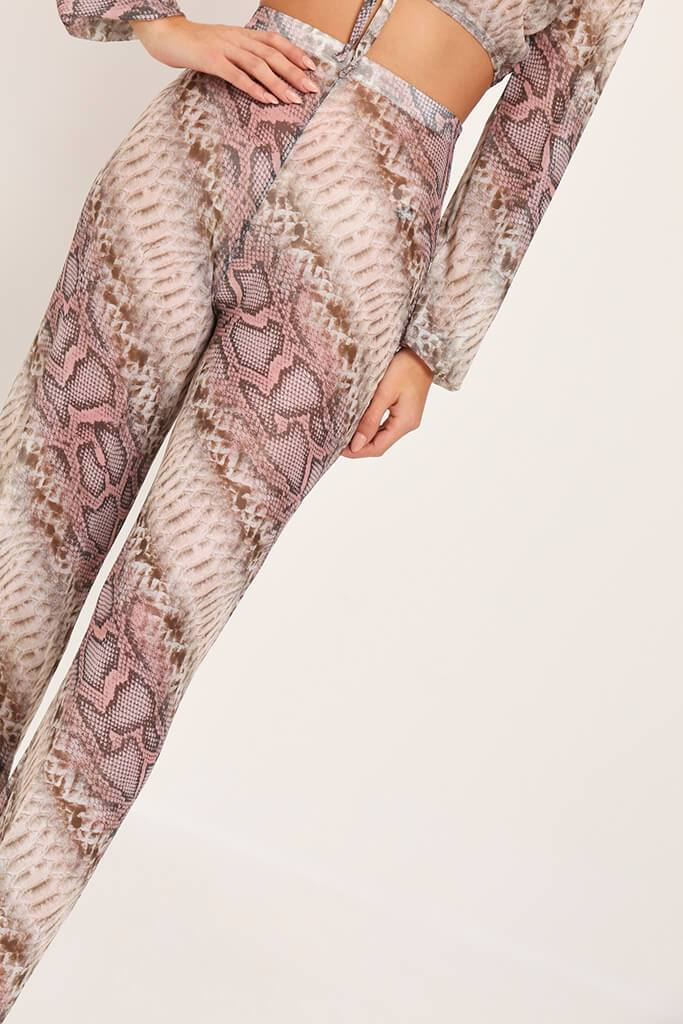 Beige Snake Print Mesh Wide Leg Trousers view 4