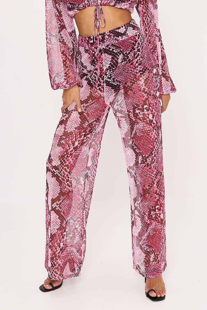 Fuchsia Snake Print High Waisted Wide Leg Mesh Trousers view 2