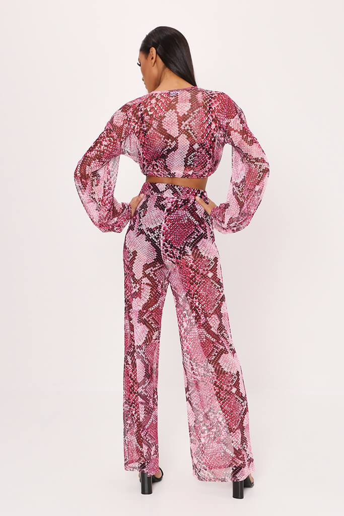 Fuchsia Snake Print High Waisted Wide Leg Mesh Trousers view 5