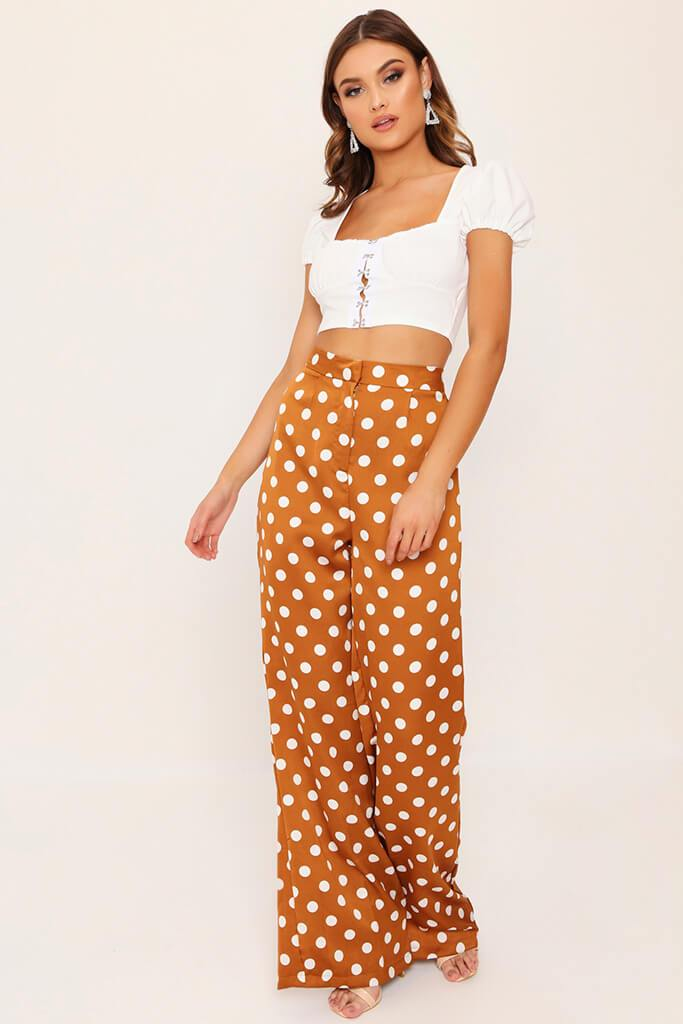 Mustard Polka Dot Print High Waisted Wide Leg Trousers