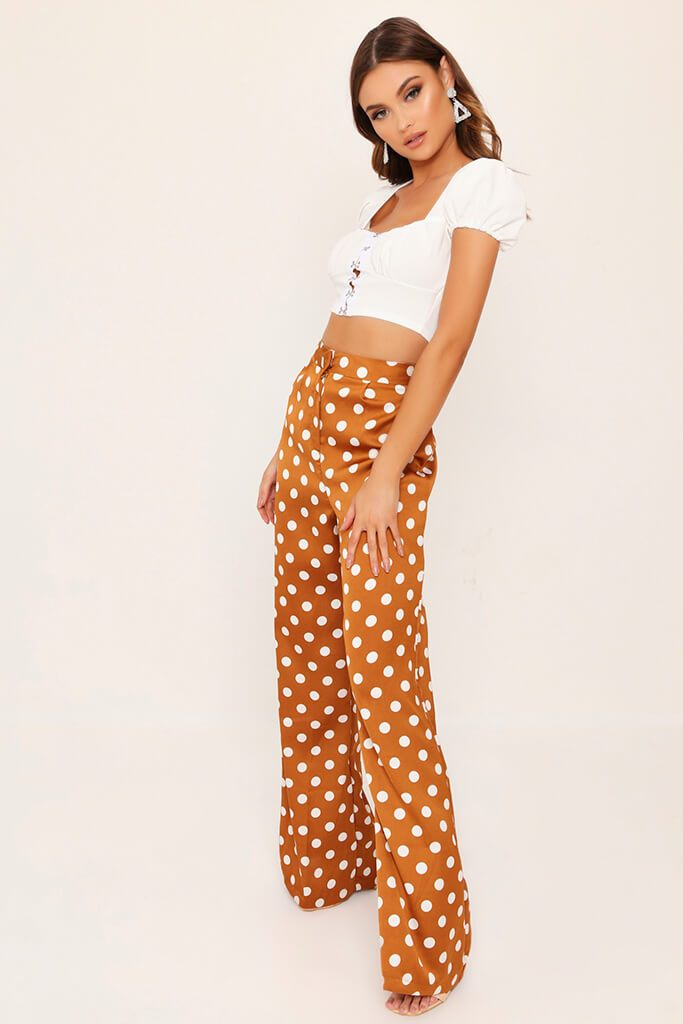 Mustard Polka Dot Print High Waisted Wide Leg Trousers view 3